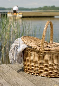 Picnic by the lake. picnic basket #Picnic Basket #Basket #Wicker basket