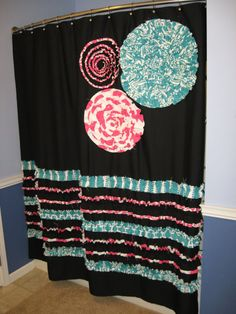 Items similar to Shower Curtain Custom Made Fabric Ruffles Flowers Aqua Teal Turquoise Hot PInk Black White Stripes Dots Damask Chevron Chevron on Etsy Bathroom Towel Decor, Small Bathroom, Bathroom Ideas, Dream Bathrooms, Sewing Projects, Sweet Home, Shabby Chic, Tapestry, Diy Crafts