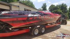 This boat is ready for summer wrapped in ORAFOL Thanks Twizted Signz & Designz, Carrollton, GA. Boat Wraps, Summer Wraps, Power Boats, Thunder, Monster Trucks, Summer Coats, Motor Boats, High Performance Boat, Speed Boats