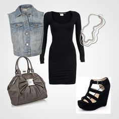 This is the perfect lunch date outfit. Denim vest over black body con dress, black wedges, grey bag, and silver chain necklace.