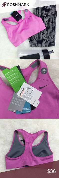 Nike Dri-Fit High Support Sports Bra. Nike DriFit women's sports bra with high support coverage. Body made with 88% recycled polyester and 12% spandex. Nike Intimates & Sleepwear Bras