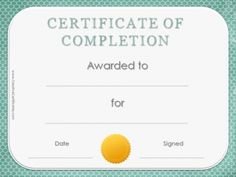 Certificate with gold seal and teal polka dot background