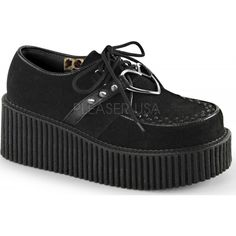 Demonia Shoes - CREEPER-206 Black Vegan Suede-Vegan