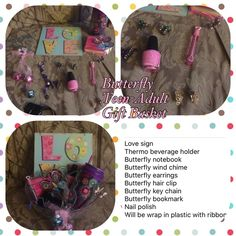 Love butterfly's teen to adult gift basket Wrap in plastic with ribbon Other