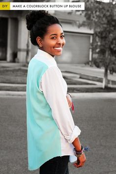 I choose to sew: DIY: recycle a man's shirt in a color block blouse