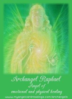 Archangels - Archangel information - Archangel assistance - Calling on your… Raphael Angel, Archangel Raphael, Angels Among Us, Angels And Demons, All Archangels, Archangel Prayers, Saint Gabriel, Angel Guide, Spiritual Images