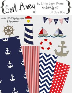 Sail Away Nautical Digital Overlay and Paper Set by Little Light Prints via lilblueboo.com