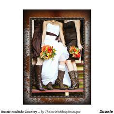 Rustic cowhide Country vintage Bridal Shower Custom Invitations