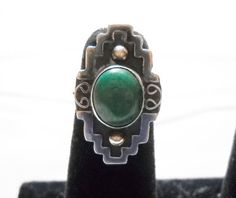 Ring Vintage Green Stone Vintage Mexico Sterling Silver