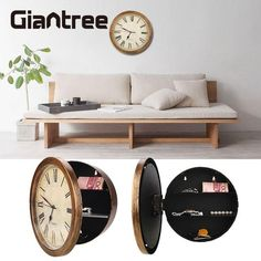 giantree Secret Safe Box Wall Clock Safe Box Wall-Mounted Hanging Key Cash Money Jewelry Storage Security Box Home Decor Wall Clock Safe, Secret Walls, Hidden Safe, Golden Wall, Security Gadgets, Secret Safe, Hanging Clock, Secret Storage, Protecting Your Home