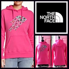 """North Face Hoodie Sweatshirt V Neck  NEW WITH TAGS  RETAIL PRICE: $ 55   THE NORTH FACE Sweatshirt Hoodie Pullover   * Super soft & comfy fabric.   * A longer length; It measures about 28"""" long.   * Attached hood, front kangaroo pockets, & long sleeves w/banded cuffs.   * Graphic print on front.   * A pullover style.   Fabric: Cotton-Polyester blend  Color: Glo Pink Heather Item: 44000  No Trades ✅ Offers Considered*✅  *Please use the blue 'offer' button to submit an offer. North Face Tops…"""