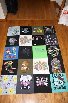 Video game T-shirt quilt I made sans border and backing