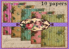 Vintage old paper background roses flower floral stripes shabby chic greetings card french digital collage file invitation scrapbooking VR9   Graphic Design  papercraft  scrapbook  printable  graphic design  instant download  background  roses flowers  shabby  paper  decoupage  paper goods  digital sheet