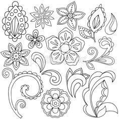 Henna Doodle Paisley Design Elements Royalty Free Stock Vector Art Illustration
