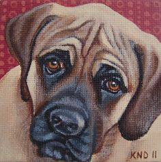 American Mastiff Miniature Painting with Easel by aBrushWithLove