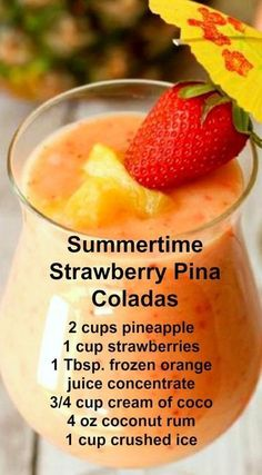 Strawberry Pina Coladas ~ A wonderful twist on a . Summertime Strawberry Pina Coladas ~ A wonderful twist on a .Summertime Strawberry Pina Coladas ~ A wonderful twist on a . Smoothie Drinks, Healthy Smoothies, Healthy Drinks, Healthy Food, Nutrition Drinks, Healthy Recipes, Tropical Smoothie Recipes, Orange Smoothie, Healthy Shakes