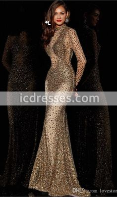 Popular High Neck Prom Dresses Long Sleeve Backless Sheath Tulle Shining Beading Crystal Sequins Sweep Train s 003