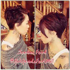 Pixie Haircut with long bangs. Short Hair styles for women. #pixie #tattoos @breeziebree