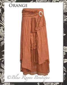 PRETTY ANGEL Romance Victorian Vintage Fairy Layer Skirt BoHo Gypsy BURNT ORANGE #PrettyAngel #FullSkirt