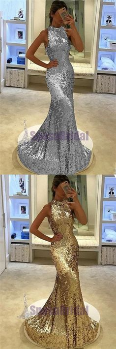 Sequin Sparkly Yellow Silver High Neck Fashion Prom Dresses, Party Dress, Evening dresses, PD0546