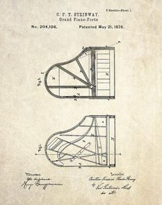 steinway piano patent drawing - Google Search