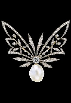 Edwardian Butterfly Brooch with Rose Cut Diamonds and Natural Pearl.