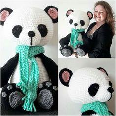 Mega kleine panda my krissie dolls. Royal zeeman 3 draads, nld 8, zwart 4 bol, wit 4 bol, grijs 1 bol (restje), roze 1 bol (restje), blauw 1 bol (restje), ogen 21mm, vulling; hoofdkussen action 3.99