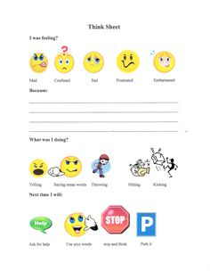 Great Behavior Think Sheet for elementary school students