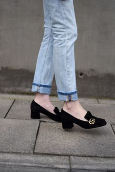 Gucci Suede Mid Heel Pump — Shot From The Street