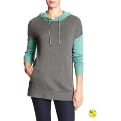Banana Republic Factory Colorblock Hoodie Size XS - Dark malachite (84 SGD) ❤ liked on Polyvore featuring tops, hoodies, hooded pullover, color block hoodie, banana republic, hooded sweatshirt and banana republic tops