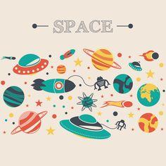 [フリーイラスト素材] イラスト, 背景, 宇宙, 宇宙船, UFO / 未確認飛行物体, 惑星, EPS ID:201411091700
