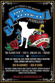 Pits For Patriots Tattoo Fundraiser - Pit Bulls as Service Dogs for Vets and 1st responders