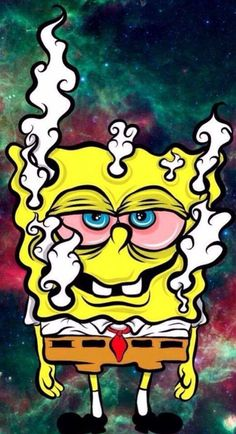 spongebob, weed, and marijuana image Cartoon Wallpaper, Weed Wallpaper, Wallpaper Lockscreen, Screen Wallpaper, Arte Dope, Dope Art, Cartoon Kunst, Cartoon Art, Psychedelic Art