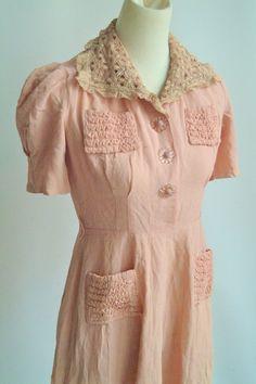 Late 1930s Dress // Pink Trousseau // Design by dethrosevintage, $45.00
