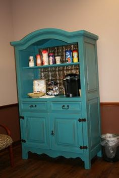 Remodeled and painted armoire. I finally moved the armoire into the kitchen.now to finish it up! Armoire Makeover, Furniture Makeover, Diy Furniture, Furniture Projects, Armoire Cabinet, Cabinet Storage, China Cabinet, Coffee Bar Home, Coffee Bars
