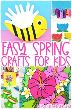 Fun & Colourful Spring Crafts for Kids Spring Art Projects, Spring Crafts For Kids, Cool Art Projects, Crafts For Kids To Make, Frog Crafts, Bird Crafts, Flower Crafts, Activity Ideas, Craft Activities For Kids