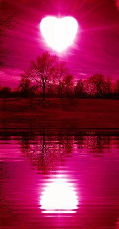 A sky and river of shining heart. Pink Moon Wallpaper, Cute Galaxy Wallpaper, Night Sky Wallpaper, Beach Wallpaper, Scenery Wallpaper, Wallpaper Backgrounds, Beautiful Nature Wallpaper, Beautiful Moon, Beautiful Landscapes