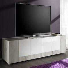 Meuble TV pin blanc et blanc laqué moderne TOYA