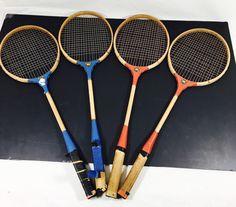 4 Vintage Antique Wood AHI Japan Badminton Racquet Sport Mancave Decorative Art #Ahi