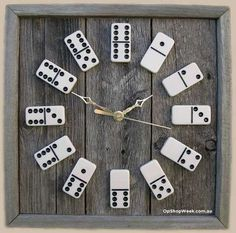 What can you do with some old some dominos tucked away in the corner of your local op shop? How about upcycling them in a circular pattern on some wood to make a trendy clock?