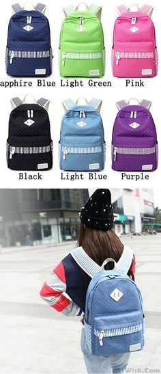 Cute Polka Dot Stripe College Canvas Backpack Leisure Travel Outdoor Sports Women Backpack for big sale! #sport #women #backpack #travel #canvas #bag #outdoor #sports