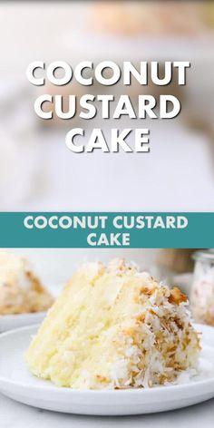 Coconut Cake Easy, Coconut Recipes, Gluten Free Coconut Cake, Baking Recipes, Dessert Recipes, Gourmet Vanilla Cake Recipe, Coconut Custard Cake Recipe, Best Coconut Cake Recipe Ever, Ultimate Cake Recipe
