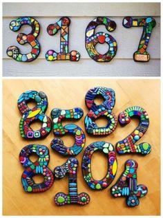 DIY mosaic address numbers