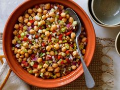 Get Chickpea Salad Recipe from Food Network. use the dressing from Guy Fieri's salad, instead of this one? Lettuce Salad Recipes, Chickpea Salad Recipes, Chickpea Soup, Food Salad, Fruit Salads, Cucumber Salad, Food Network Recipes, Cooking Recipes, Healthy Recipes