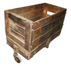 antique wooden factory crate cart