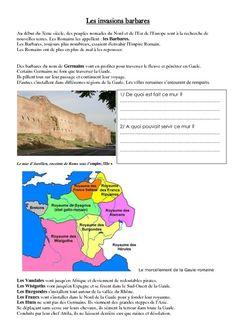 Invasion de l'empire romain par les barbares – Exercices – Moyen âge – Ce2 – Cm1 – Cycle3 – Pass Education