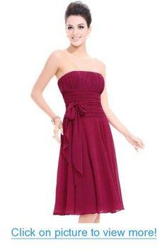 Ever Pretty Chiffon Strapless Reds Ruffles Bow Knee-length Prom Dress 03341