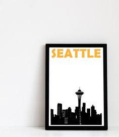 Seattle Print (A4) Seattle Skyline Art Print by Pomalia on Etsy