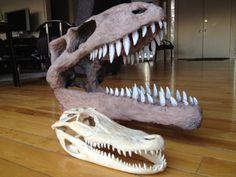 paper maché dinosaur skull & alligator skull - tutorial