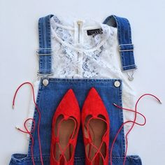 Red, white & blue. #topshop #ootd #shoes #overalls
